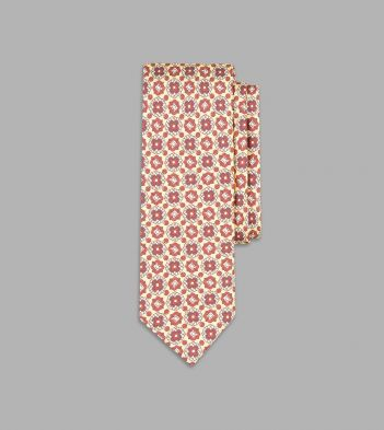 Buff and Red Circular Medallion Print Silk Tie