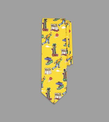 Yellow Bowling Print Silk Tie