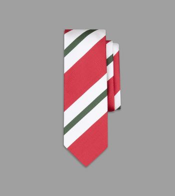 Coral, White and Green Wide Stripe Silk Tie
