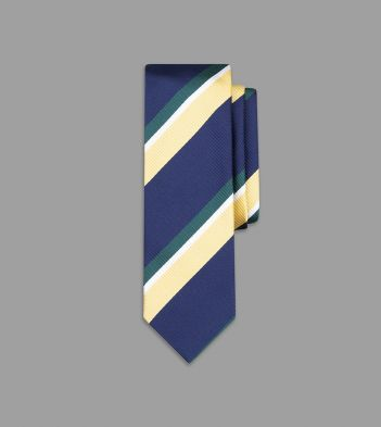 Navy, Ecru and Green Wide Stripe Silk Tie