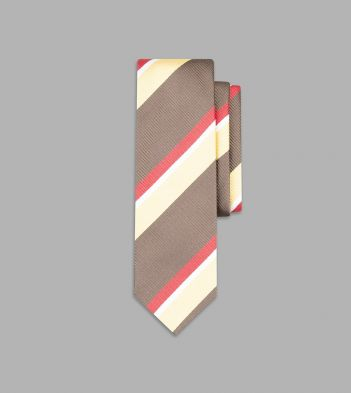 Brown, Ecru and Coral Wide Stripe Silk Tie