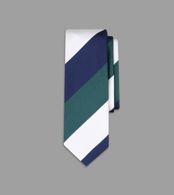 Navy, Green and White Jumbo Stripe Silk Tie