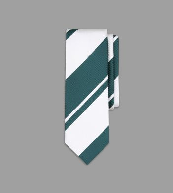 White and Green Multi Stripe Silk Tie