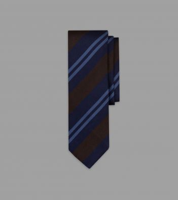 Navy, Green and Pale Blue Stripe Repp Silk Tie
