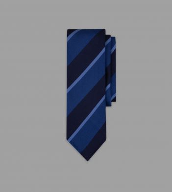 Navy and Blue Stripe Repp Silk Tie