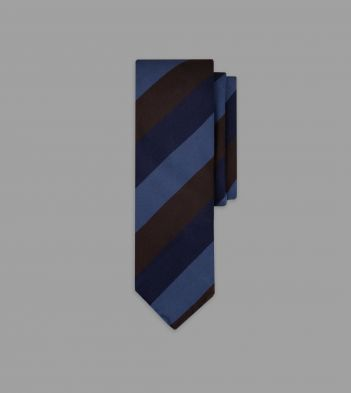 Navy, Brown and Blue Wide Stripe Repp Silk Tie