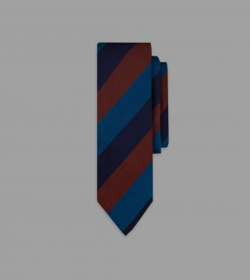 Navy, Blue and Red Wide Stripe Repp Silk Tie
