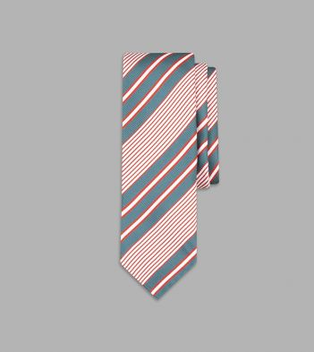 Green and Red Multi Stripe Silk Tie