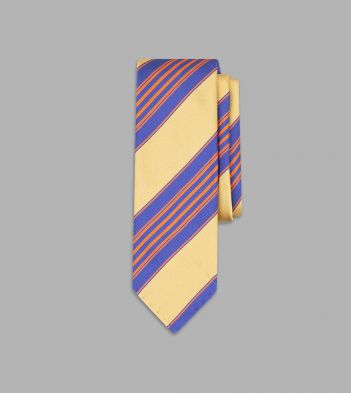 Gold, Blue and Orange Multi Stripe Silk Tie