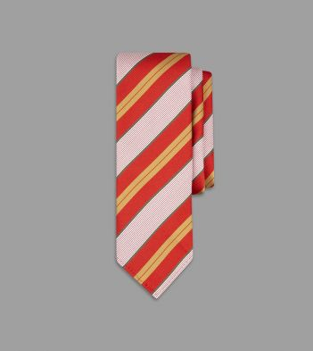 Red, Gold and Green Narrow Stripe Silk Tie