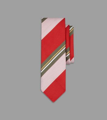 Red and Olive Irregular Stripe Silk Tie