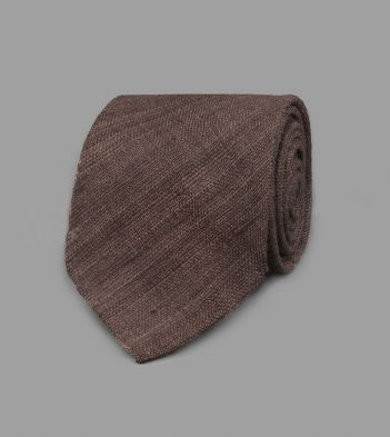 Brown Handrolled Silk Tussah Tie