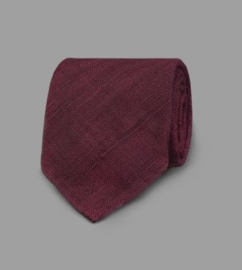 Wine Handrolled Silk Tussah Tie