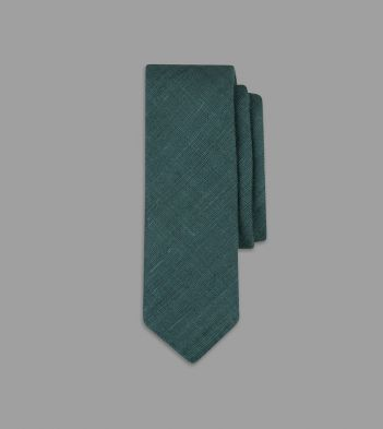 Green Handrolled Silk Tussah Tie