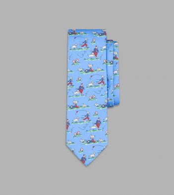 Sky Blue Countryside Print Silk Tie