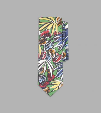 Green Painted Leaf Print Silk Tie