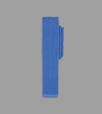 Light Blue Knitted Silk Solid Colour Tie