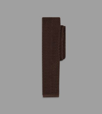 Chocolate Knitted Silk Solid Colour Tie