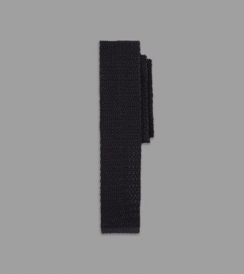 Black Knitted Silk Solid Colour Tie
