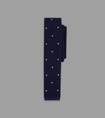 Navy and White Knitted Silk Tie with Handsewn Spots