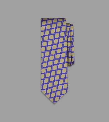 Drake's with Campbell-Rey Olive and Purple Giardinetto Print Silk Tie