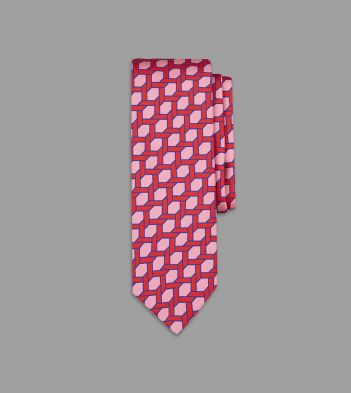 Drake's with Campbell-Rey Pink and Red Giardinetto Print Silk Tie