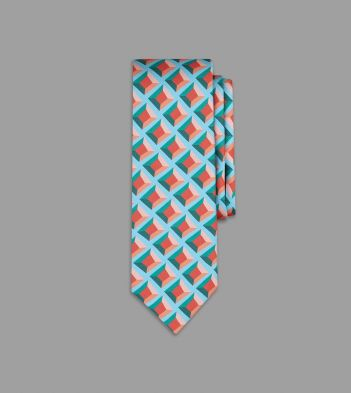 Drake's with Campbell-Rey Coral and Turquoise Palazzetto Print Silk Tie