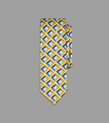 Drake's with Campbell-Rey Yellow and Blue Palazzetto Print Silk Tie