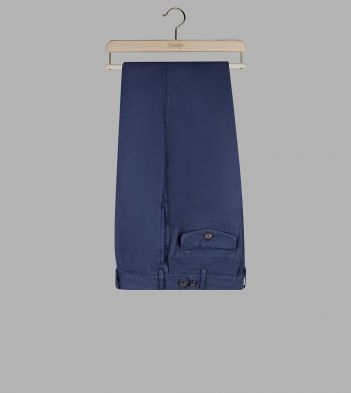 Dark Navy Cotton-Linen Single-Pleat Games Chinos