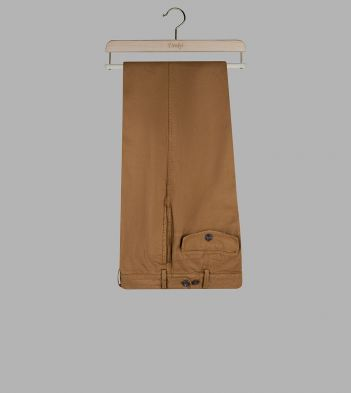 Russet Cotton-Linen Single-Pleat Games Chinos