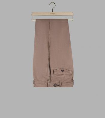Taupe Cotton-Linen Single-Pleat Games Chinos