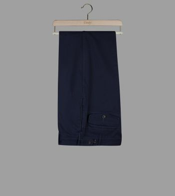 Navy French Cotton Drill Single-Pleat Games Chinos