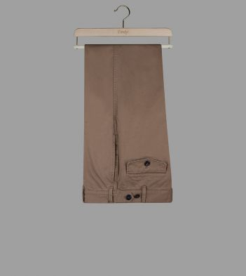 Beige French Cotton Drill Single-Pleat Games Chinos