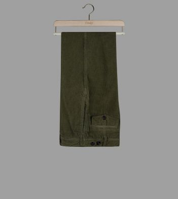 Olive Corduroy Single-Pleat Games Chinos