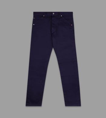 Navy Japanese Bedford Corduroy Five-Pocket Trousers