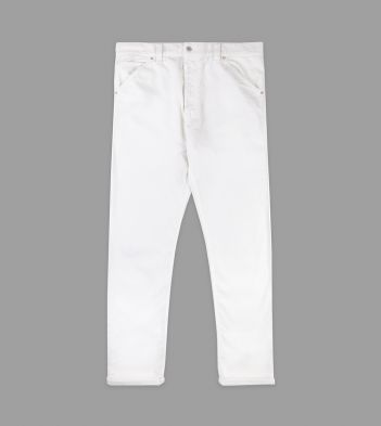 White Japanese Selvedge Needlecord Five-Pocket Trousers
