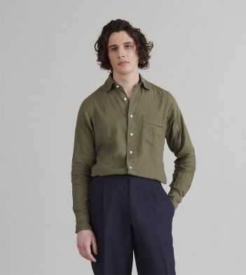 Olive Japanese Linen Spread Collar Shirt