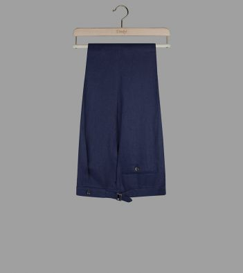 Navy Linen Tailored Trousers