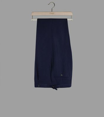 Aimé Leon Dore for Drake's Navy Herringbone Wool-Linen Trousers