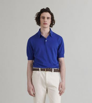 Bright Blue Linen-Cotton Knitted Polo Shirt