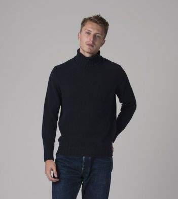 Dark Blue Lambswool Submariner Roll Neck Jumper