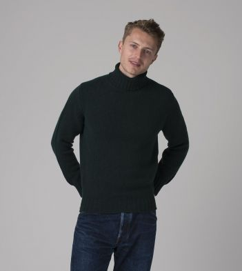 Dark Green Lambswool Submariner Roll Neck Jumper