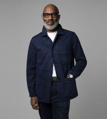 Navy Tencel-Cotton Five-Pocket Chore Jacket
