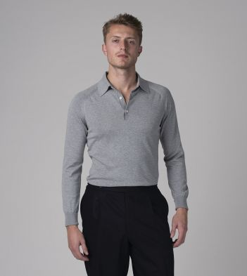 Grey Knitted Silk-Cotton Long-Sleeve Polo Shirt