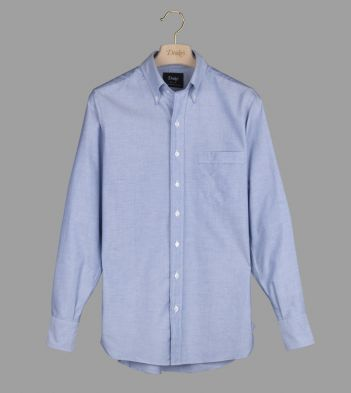 Blue Oxford Regular Fit Shirt with Button Down Collar